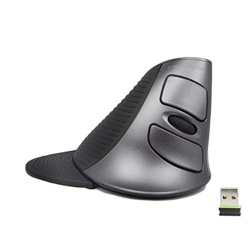 J-Tech Digital Scroll Endurance Wireless Mouse Ergonomic Vertical USB Mouse with Adjustable Sensitivity 600 1000 1600 DPI , Removable Palm Rest Thumb Buttons – Reduces Hand Wrist Pain