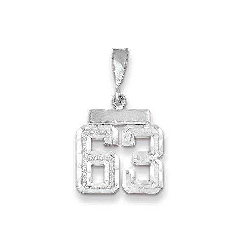 JewelrySuperMart Collection 14k White Gold Diamond-Cut Number Sixty-Three Charm Pendant - # 63 - White Gold -Small