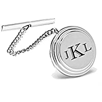 Personalized Silver Beveled Tie Pin Engraved Free