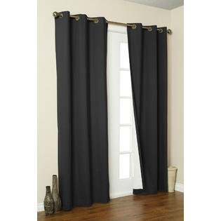 Solid Grommet Window Curtain Foam Lined Coffee - 1