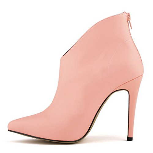 Casual Shoes Work Women's Pink Sexy Party Stiletto Business Boots High Matt Leather Heels ZriEy z06v16