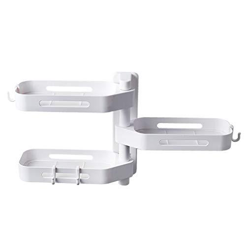 Ninasill 3 Tier Wall-Mounted Punch-Free Bathroom Shelf Degree Free of Punch Rotating Wall Mount Bathroom Storage Rack Box (White) -