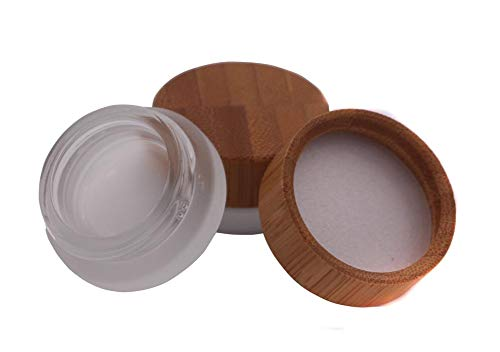 2Pcs 5ml/5g/0.17oz Mini Empty Refillable Frosted Clear Glass Cosmetic Storage Container Bottle Vial Jars with Bamboo Lid For Face Cream Eye Cream Lip Balm Ointments Salves Nail Powder