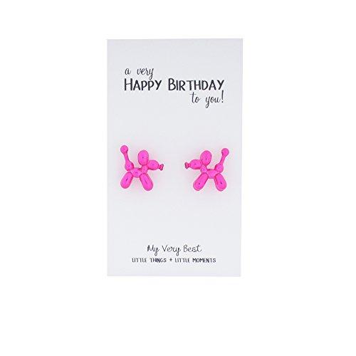 My Very Best Cute Balloon Dog Stud Earrings (hot pink) -