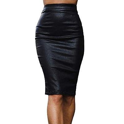 Women's Faux Leather Midi Pencil Skirt Hip Wrapped Back Split Zip Club PU Skirts