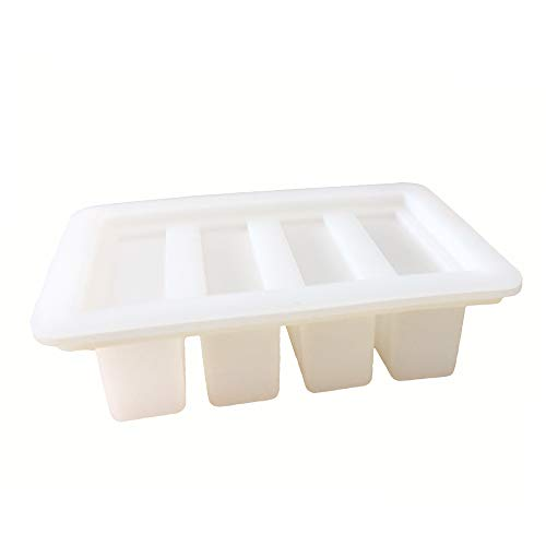 (YHSWE 1PCS White Large butter Silicone container Rectangle butter Mold Soap Bar Storage Jar New)