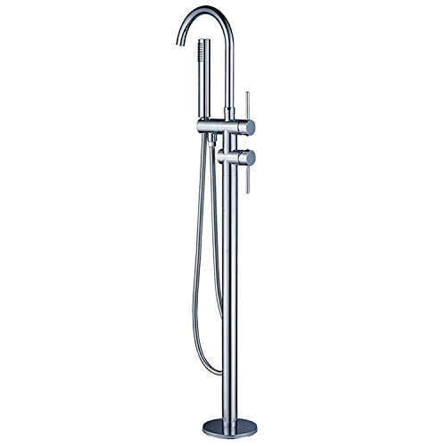 Votamuta Brass Chrome Finish Bathroom Floor Mount Tub Faucet Bathtub Mixer Taps Single Handle with Handshower Tub Filler - Tub Filler Handshower