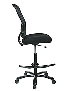 Black SPACE Seating Big and Tall Dual Layer AirGrid Back with Mesh Seat Adjustable Footring and Gunmetal Finish Base Drafting Chair