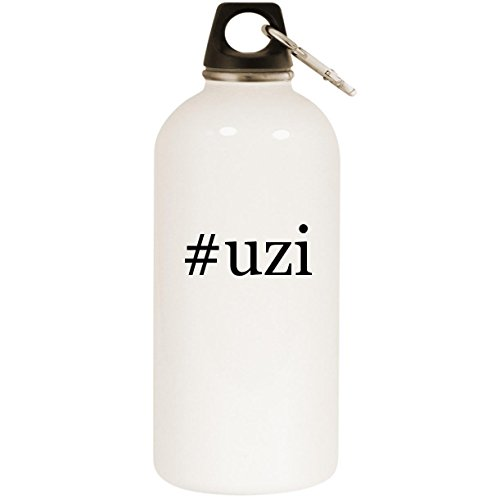 (Molandra Products #Uzi - White Hashtag 20oz Stainless Steel Water Bottle with Carabiner)