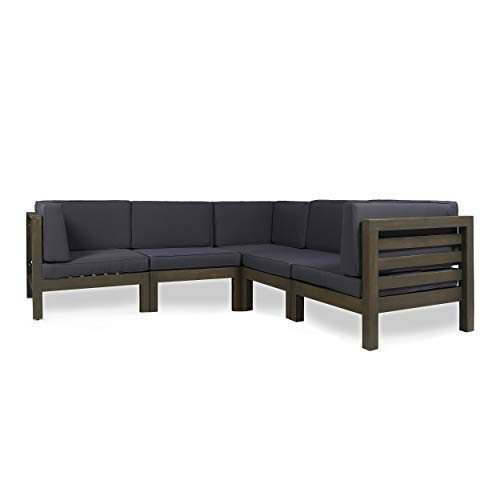 Great Deal Furniture Dawson Outdoor V-Shaped Sectional Sofa Set – 5-Seater – Acacia Wood – Outdoor Cushions – Gray and Dark Gray