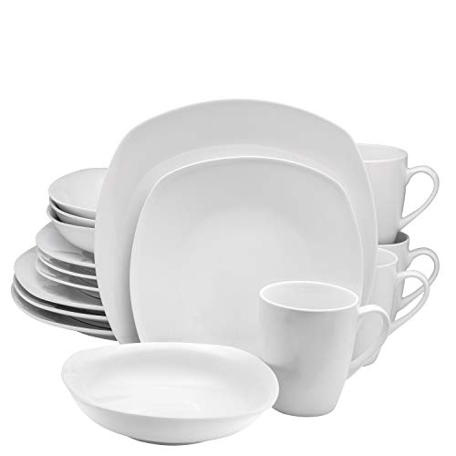 16 Piece High-Fire Porcelain Ceramic Dinnerware Set, Service for 4, by Francois et Mimi (Flat White) 16 Piece Coupe Dinnerware Set