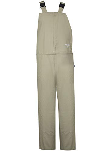 National Safety Apparel C45HKHKECXL32 ArcGuard Economy HRC 4 Arc Flash Bib Overall, X-Large, Khaki