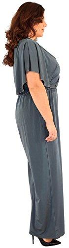 Ausschnitt Chocolate 44 54 Front plunge Jumpsuit V Größe wickeln Neue plus Damen Kakhi Pickle® U0rqU