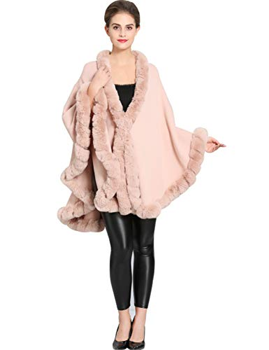 Aphratti Knit Wrap Scarf Shawl Cape with Luxury Rex Rabbit Faux Fur Collar Without Arm Slits One Size Full Mistyrose