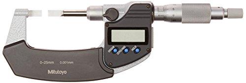 Mitutoyo 422-230 LCD Blade Micrometer, Ratchet Stop, 0-25mm Range, 0.001mm Graduation, +/-0.003mm Accuracy, 0.75mm Tip (External Micrometer Ratchet)