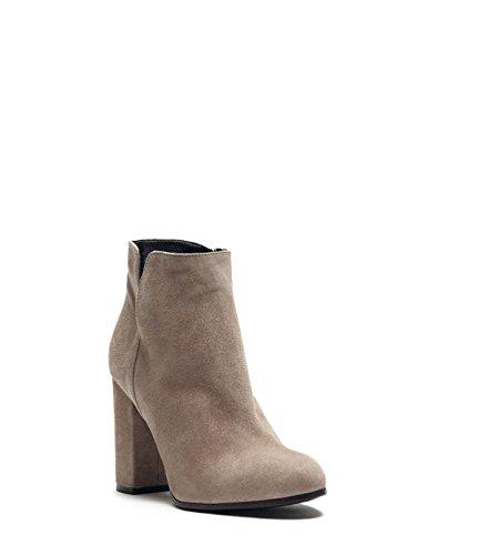 PoiLei Maya - Damen Schuhe / Sommer-Stiefelette - Ankle-Boot mit Blockabsatz taupe