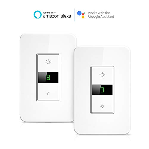 Smart Dimmer Switch, Maxcio Smart Light Switch Dimmable, Compatible with Alexa and Google Home, APP remote control, Timer/Schedule Function, No Hub Required – 2 Packs