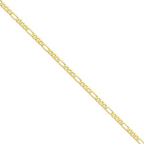 Roy Rose Jewelry 14K Yellow Gold 4.75mm Flat Figaro Link Chain Bracelet ~ Length 7'' (7' Figaro Chain Bracelet)