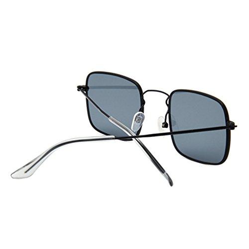Mujer Gris Gafas LINNUO Metal de Square Sunglasses Unisex Eyewear Aviador Marco Retro de Hombres Marco Negro Sol T7Txw6rq