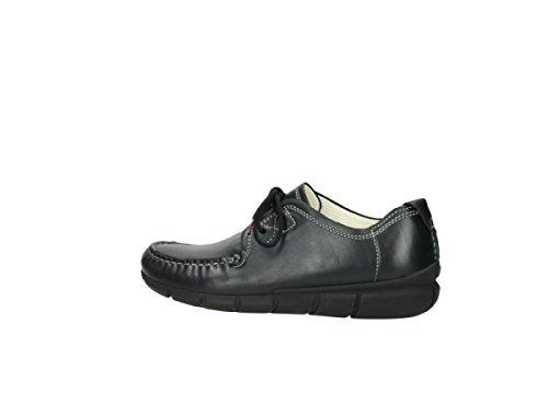Mujer 1502 schwarz Tunica Wolky Negro Cordones para 300 Zapatos Leder de Y4xfwqT