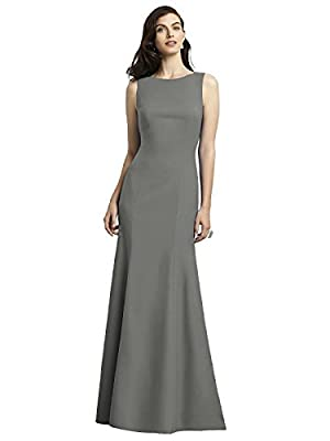 Dessy Women's Low Back Full Length Sleeveless Crepe Dress w/ Bateau Neckline