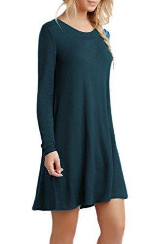 Size 4XL Bleu Longues Dress Swing 2XS Manches Plus Femmes Fonc OMZIN lache Occasionnels f8aav1