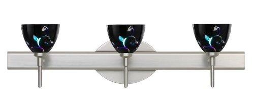 Besa Lighting 3SW-1858VB-SN 3X40W G9 Divi Wall Sconce with Black Dicro Vine Glass, Satin Nickel Finish (Black Sn Dicro Vine)