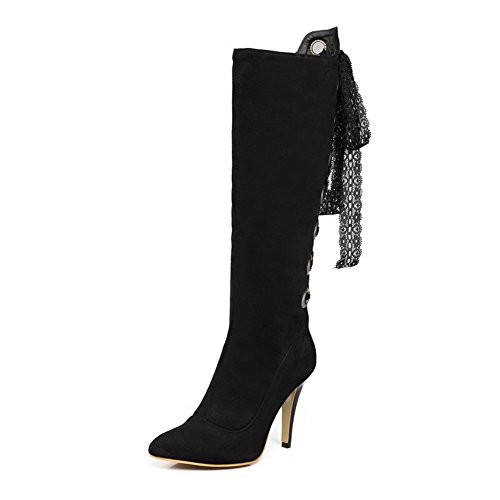 Allhqfashion Women's High-Heels Solid Pointed Closed Toe Frosted Zipper Boots Black zJIFVd1K