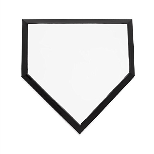 Champion Sports Baseball Home Plate: Heavy Duty Anchored Professional Homeplate Bases with Stakes - Single Official Outdoor White & Black Rubber Base by Champion Sports