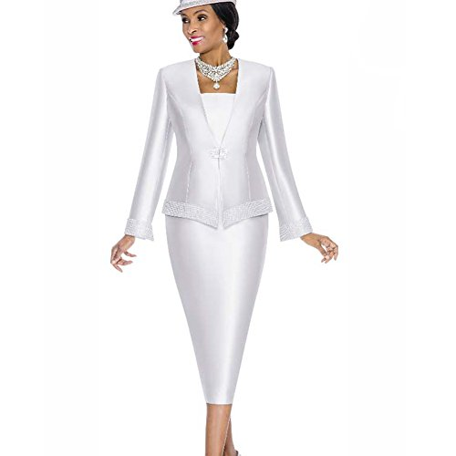 Kueeni Women Church Suits with Hats Church Dress Suit for Ladies Formal Clothes White by Kueeni