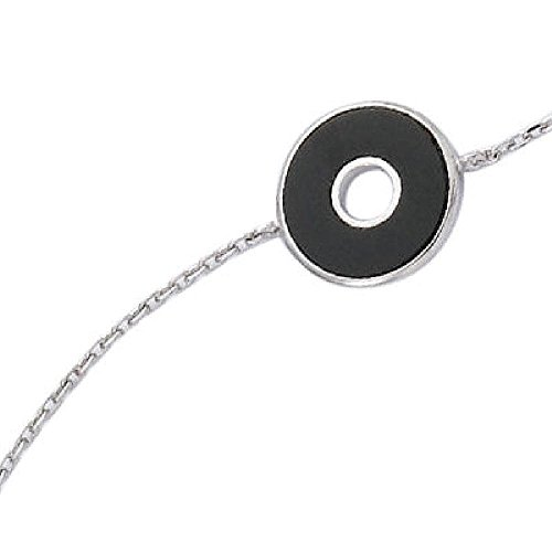 (So Chic Jewels - 925 Sterling Silver Black Onyx Disc Target Chain Bracelet - Length 16+1+1 cm)