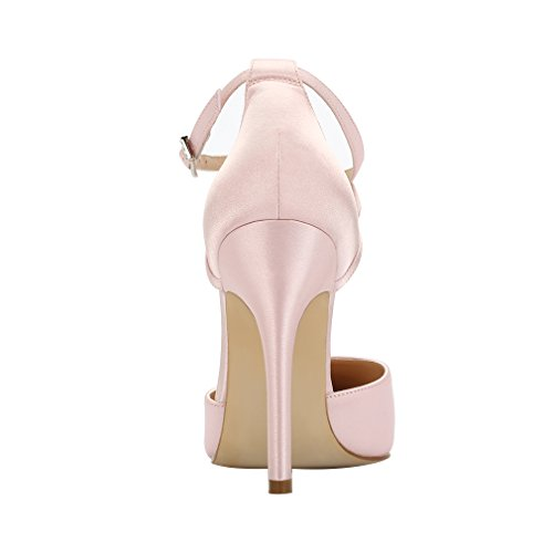 Evening Wedding Ankle Prom ERIJUNOR Blush Satin High Heel Strap Shoes Dress Pumps Women 8v8BSO
