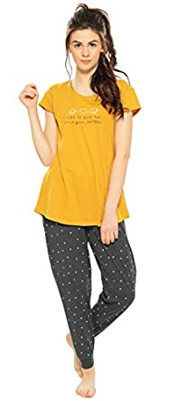 ZEYO Women's Cotton Mustered Yellow & Red Heart Print Night Suit Set