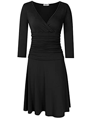 MISSKY Women 3/4 Long Sleeve Crossover Wrap V Neck Ruched Waist Slimming Swing Midi Cocktail Dress