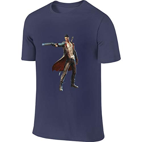 SHENGN Mens Custom Casual Tee Shirt Devil May Cry 5 Tshirts Navy
