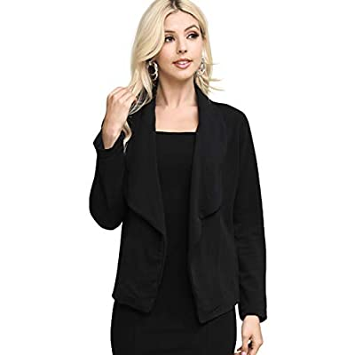 DOUBLJU Women's Long Sleeve Cardigan Lightweight Open Front Office Blazer with Plus Size at Women's Clothing store