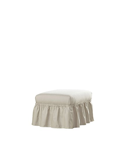 Perfect Fit 863090 Relaxed Fit Duck Slipcover Ruffle Ottoman, Parchment
