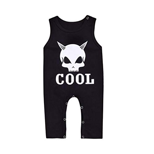 Suma-ma 2 Colors Halloween Newborn Jumpsuit Clothes -Toddler Baby Sleeveless Letter Print -