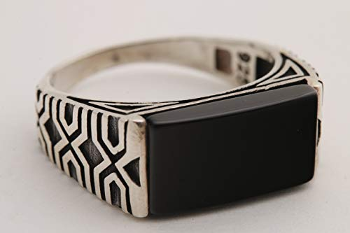 (Turkish Style Handmade Jewelry Long Rectangle Shape Black Onyx 925 Sterling Silver Men's Ring Size Option)