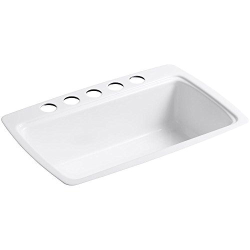 Kohler K-5864-5U-0 Cape Dory Undercounter Kitchen Sink, White