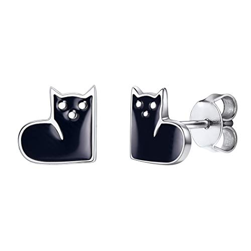 Girls Love Cat Stud Earrings 925 Sterling Silver Post Black Enamel Kitten in Heart Shape Cute Earring for Women