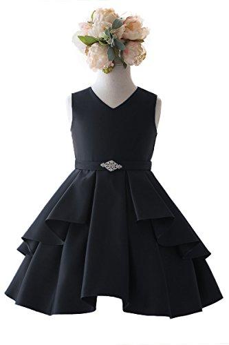 Gwen and Zoe Satin Sleeveless V-Neck Dress w/Ruffles (12, -