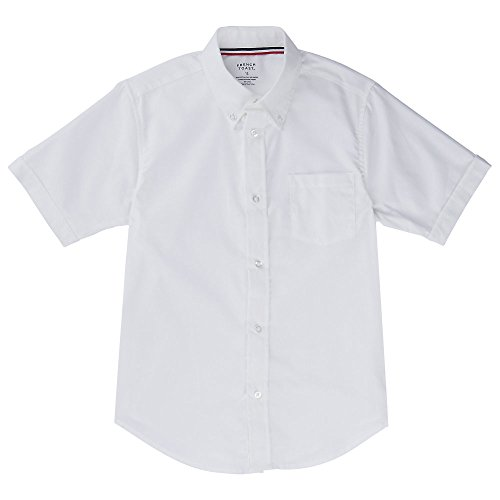 French Toast Men Short Sleeve Oxford Shirt, White, Large by French Toast