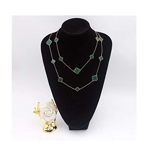 Women Black Onyx 18K Gold Plated 16 Flower 90CM Four-Leaf Clover Necklace/Classic Fashion Leaf Pearl Clover Necklace- Shape Malachite Pendant Clavicle Chain (Green-Rose Gold) Black Onyx Leaf Pendant