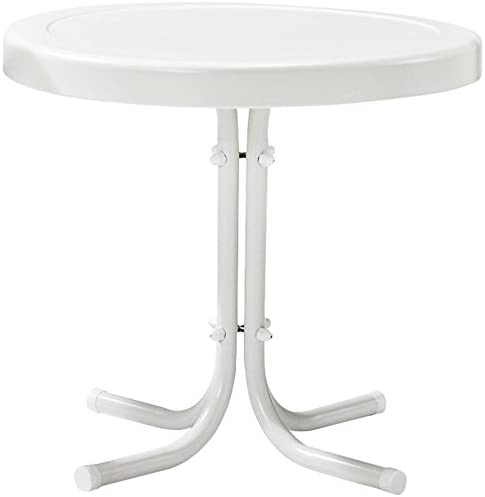 Crosley Furniture Gracie Retro 20-inch Metal Outdoor Side Table – Alabaster White