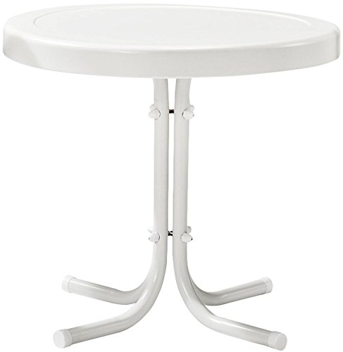 "Crosley Furniture Gracie Retro 20-inch Metal Outdoor Side Table - Alabaster White - 20""W x 20""D x 19.5""H Sturdy Steel Construction Non-Toxic Powder Coated Finish - patio-tables, patio-furniture, patio - 31uJ778fXNL -"