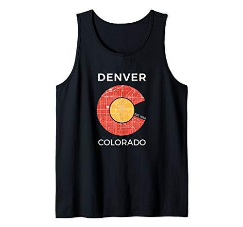 Denver Colorado Map Flag Inspired Tourist Souvenir Gift Tank Top (Map Of Denver Colorado And Surrounding Areas)
