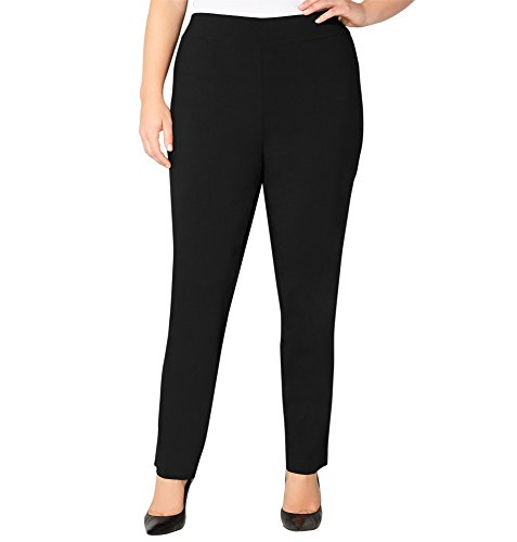 Avenue Women's Super Stretch Pull-On Pant with Tummy Control, 16 Black