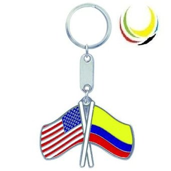 Colombia Flag and USA Flag Keychain