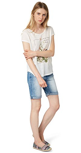 TOM TAILOR Denim Camiseta Mujer blanco roto
